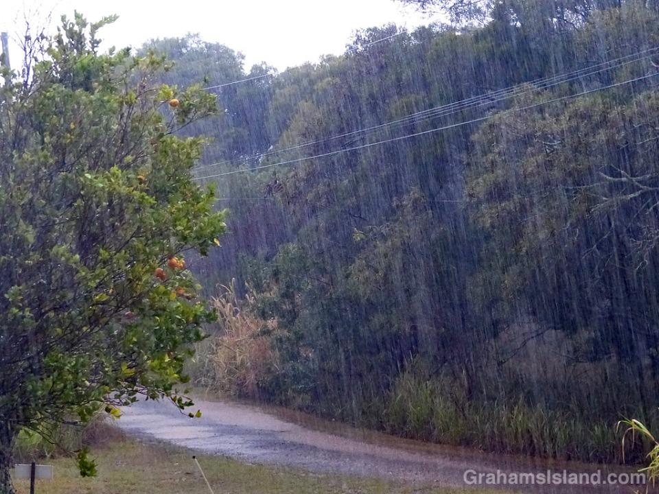 Heavy rain falls on the Big Island of Hawaii.