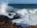 High winds kick up large swells pounding the northern coast of the Big Island of Hawaii.