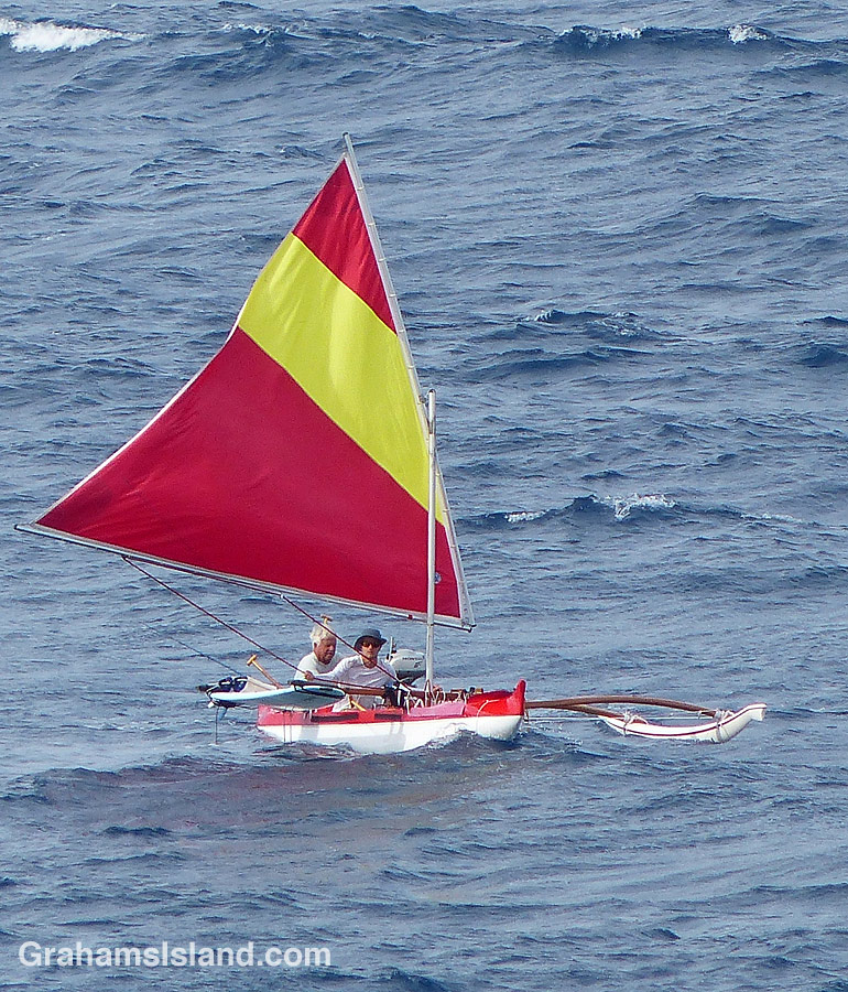 An outrigger canoe off the North Kohala coast
