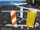A sign at Kaloko-Honokohau National Historical Park knocked over in a storm.