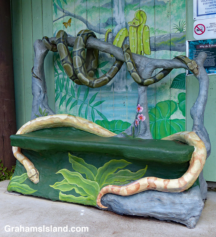 One of the colorful benches at Panaewa Rainforest Zoo