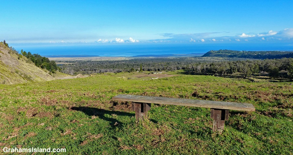 The view from a bench of the hike up Pu'u Wa'a Wa'a.
