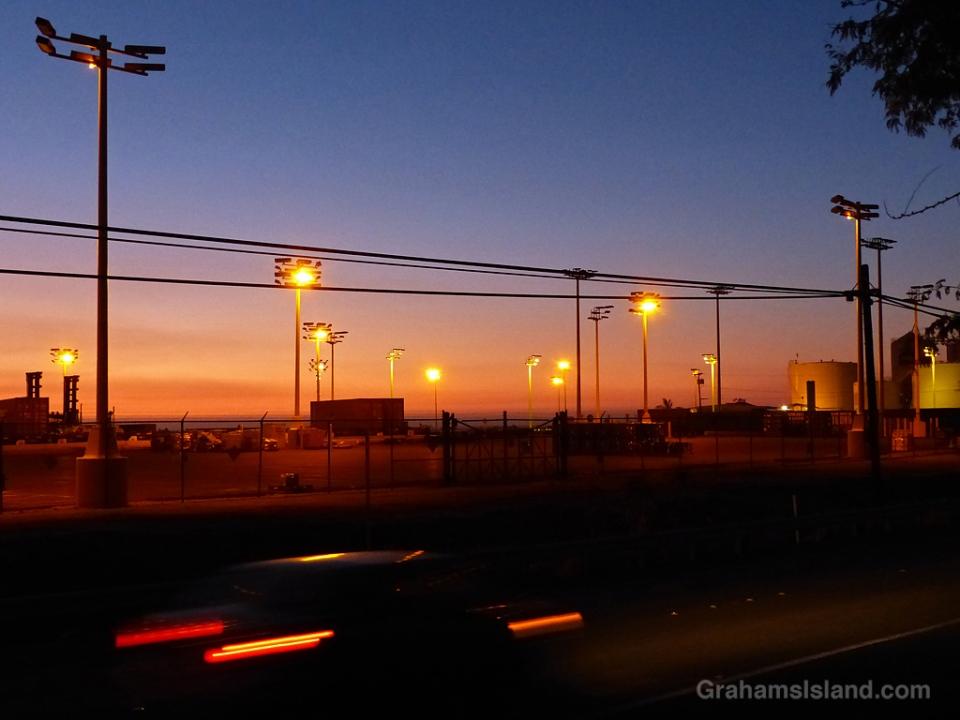 The port at Kawaihae at sunset