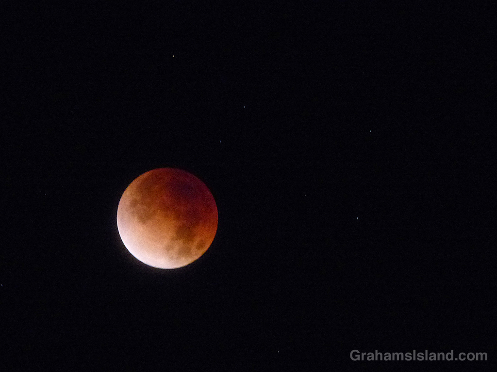 A lunar eclipse over Hawaii