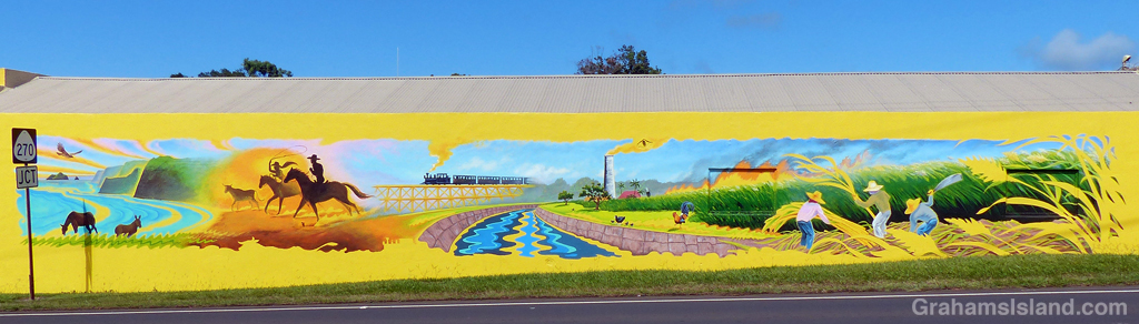 A mural on the wall of Hawi Post Office in Hawaii.