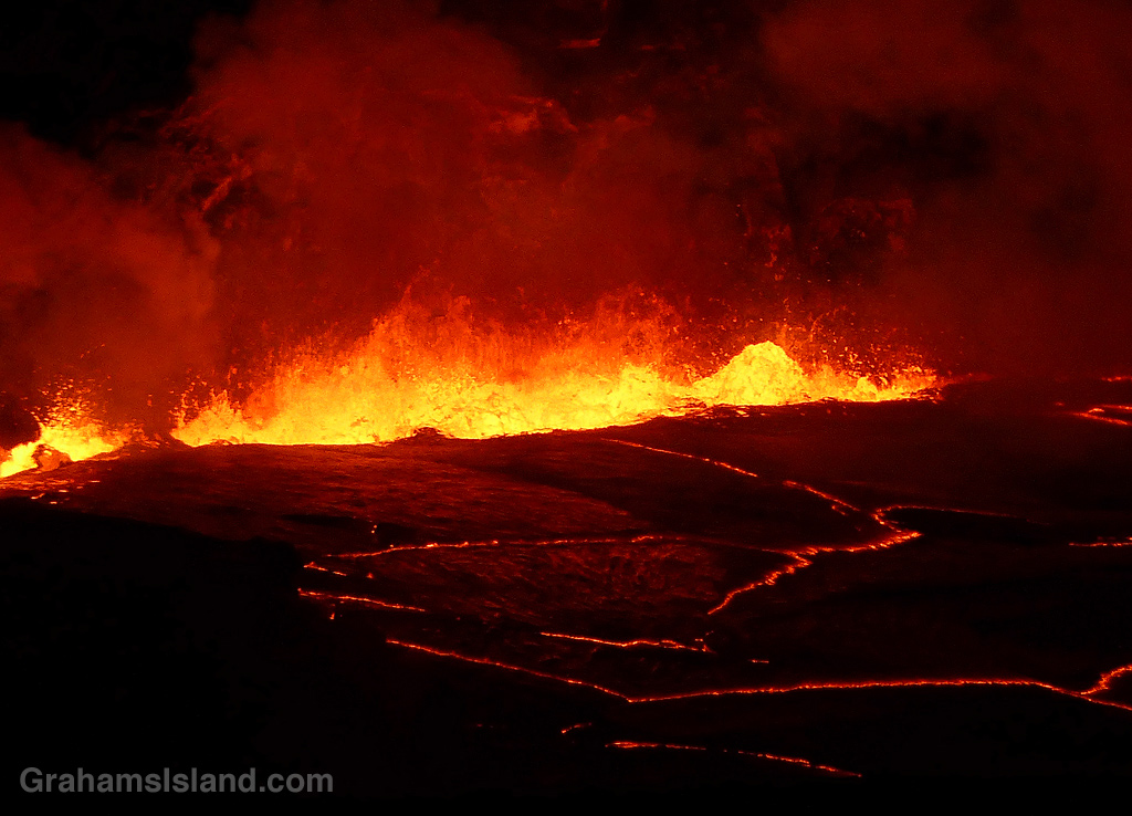 Kilauea lava wall of flame