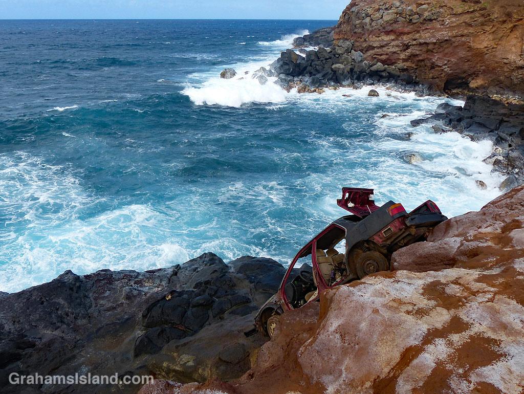 Better Days-Abandoned car on coast