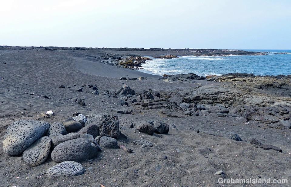 Kona coast black sand beach Makole'a
