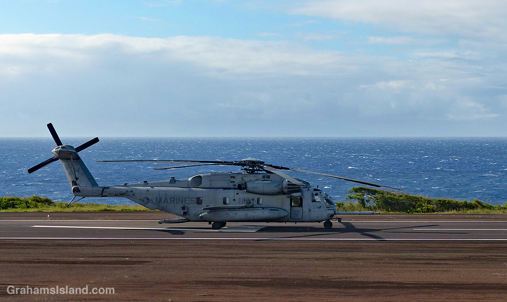 Sikorsky CH 53E Super Stallion helicopter at Upolu Airport