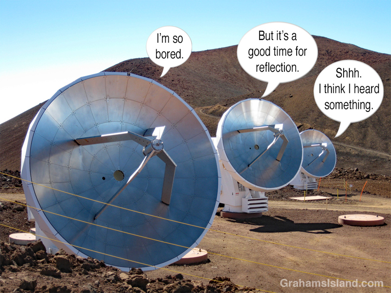 Smithsonian Submillimeter array dishes with text