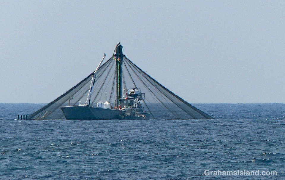 Fish farm net pen and boat