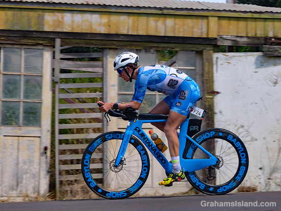 Ironman cyclist in blue