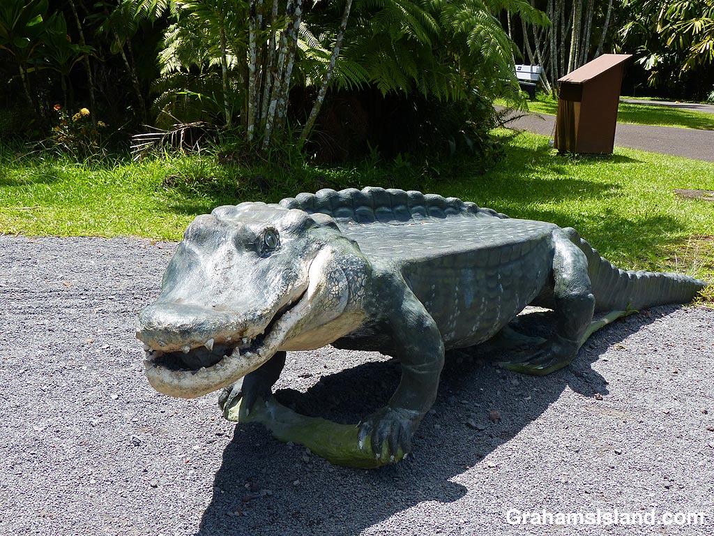 Pana'ewa Rainforest Zoo Alligator bench