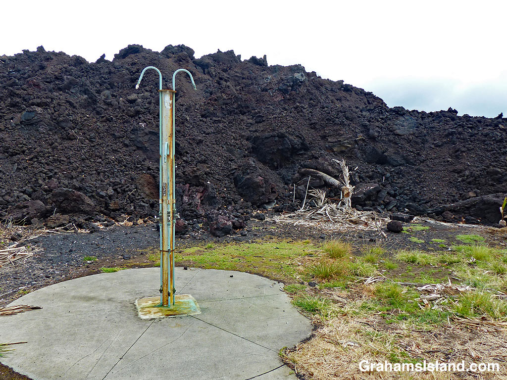 Better Days-Pohoiki shower and lava