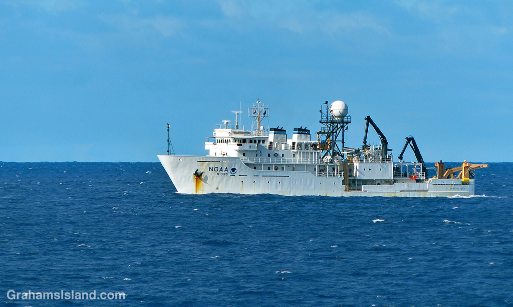 The research vessel Oscar Elton Sette off the island of Hawaii