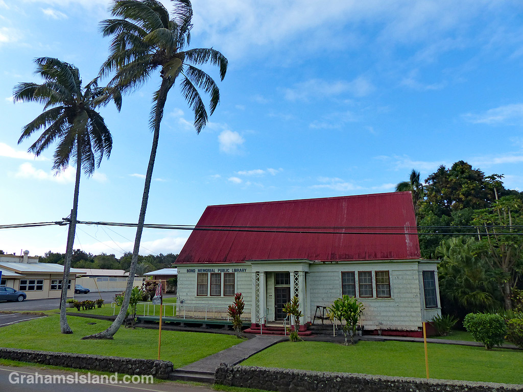 The old Bond Memorial Library in Kapaau, Hawaii.