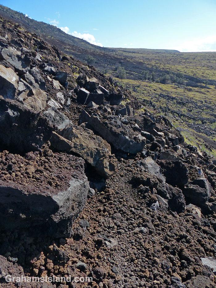 A rock slide on the Hilina Pali Trail.