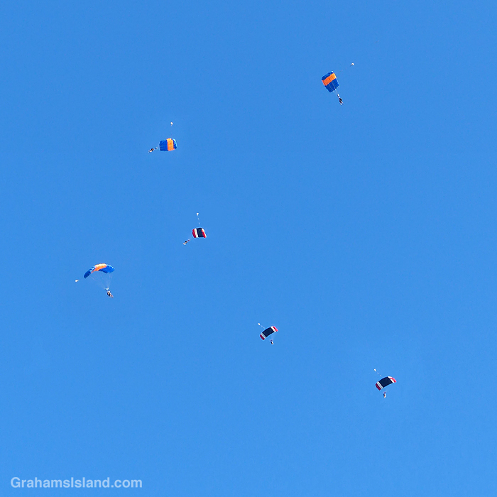 Skydivers over the Big Island, Hawaii