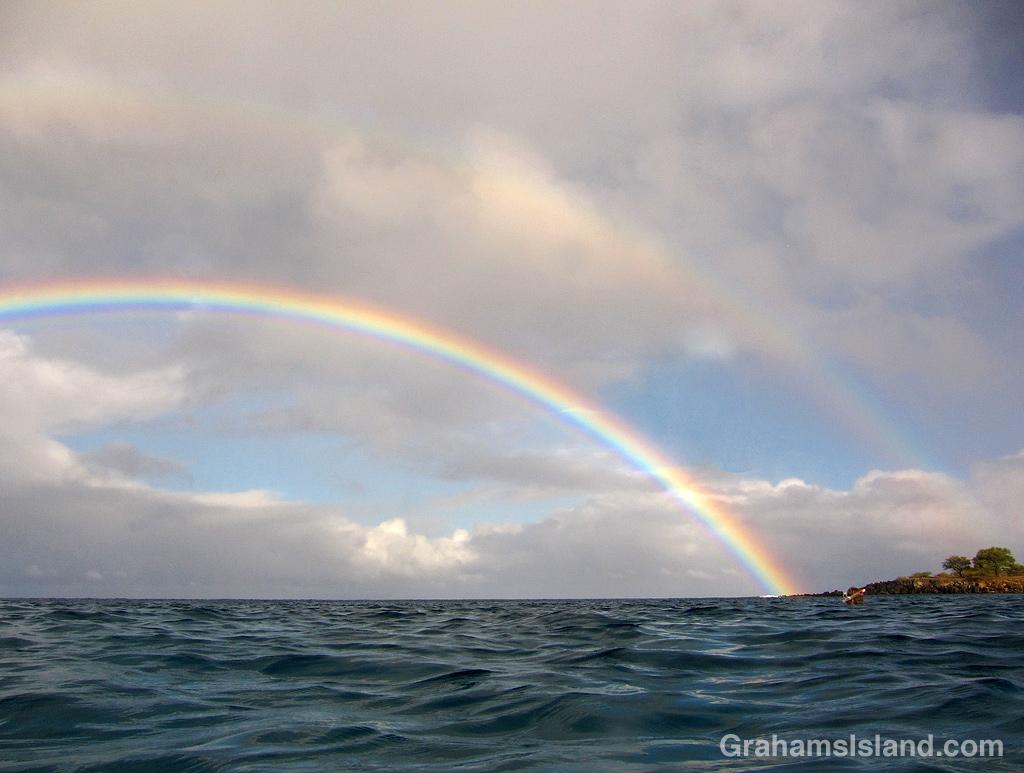 A rainbow seen from the water off the Big Island, Hawaii