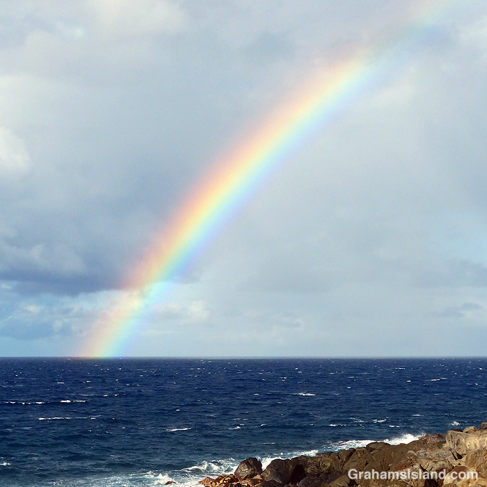 A rainbow off the Kohala coast, Hawaii