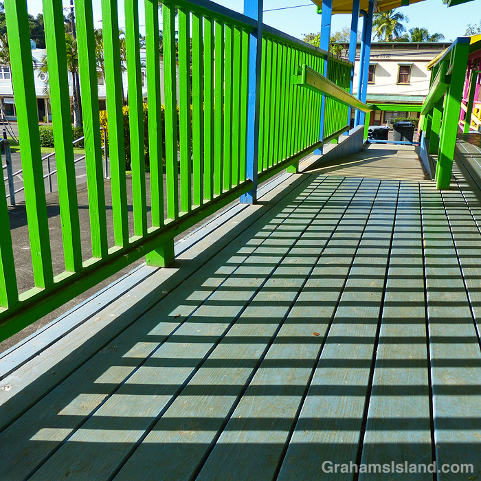 A green railing in Kapaau, Hawaii