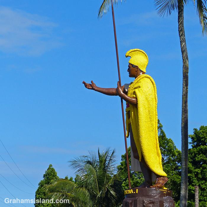 The King Kamehameha I statue in Kapaau, Hawaii
