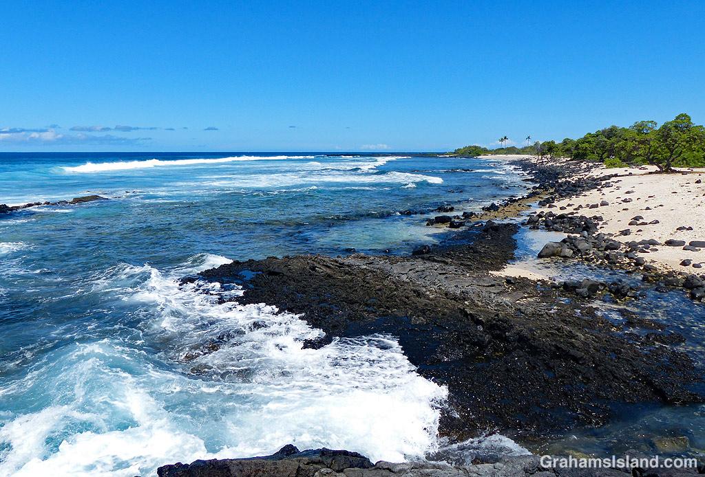 The beach at Kohanaiki Beach Park in Hawaii