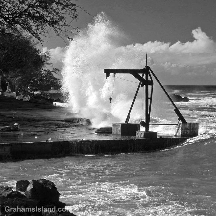 Surf crashes ashore at Mahukona, Hawaii