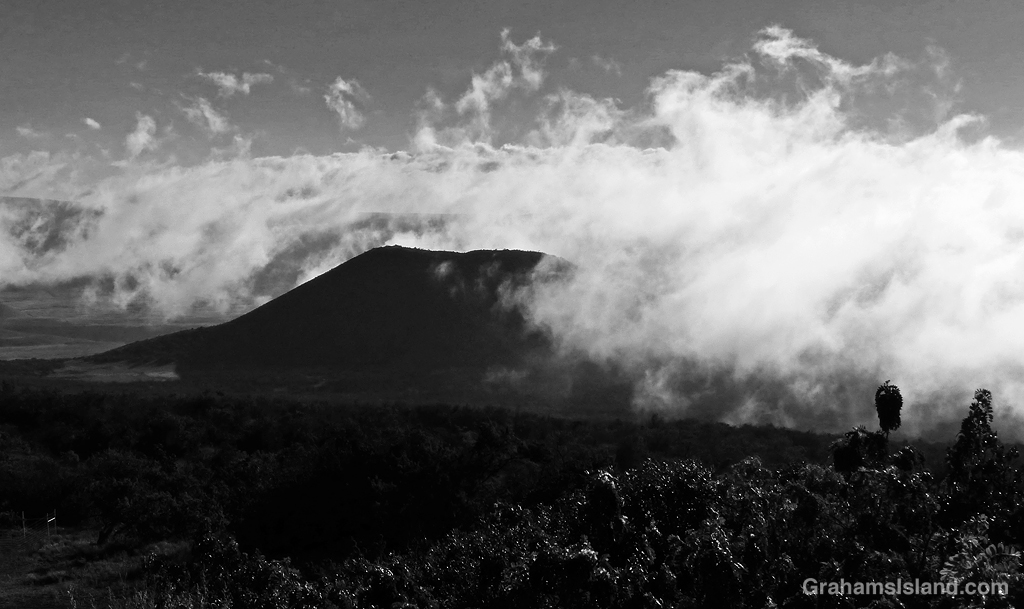 Clouds swirl around Pu'u Ahumoa on the slopes of Mauna Kea