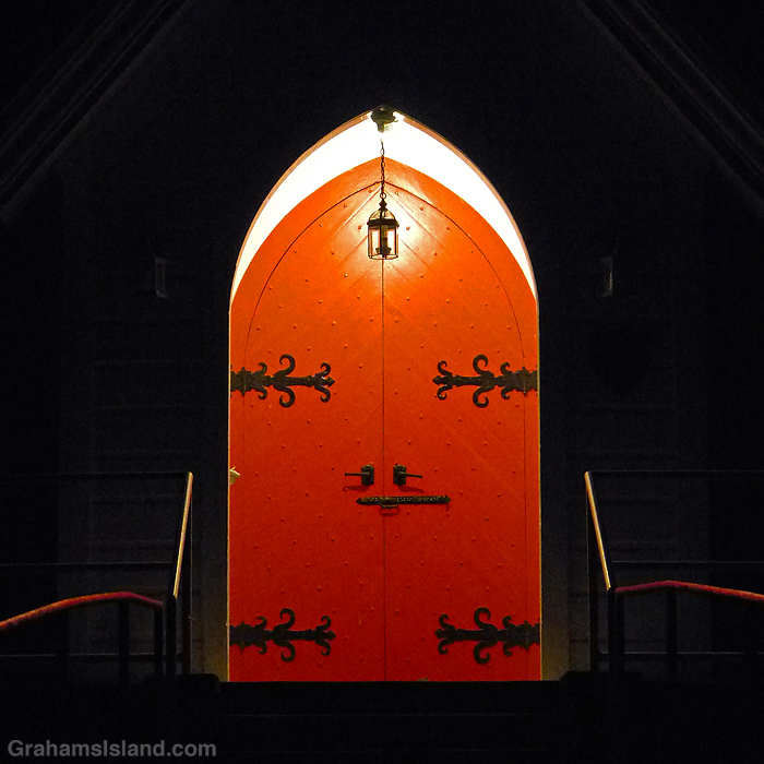 The door of St. Augustine's Episcopal Church in Kapaau, Hawaii