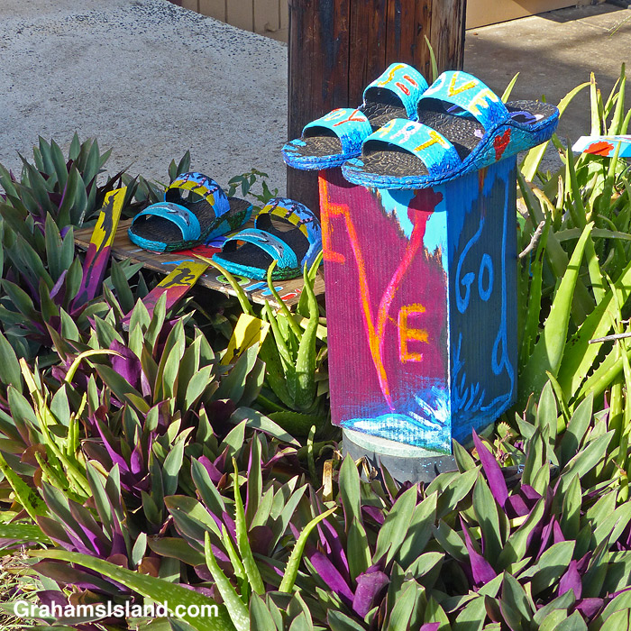 An outdoor art installation in Hawi, Hawaii