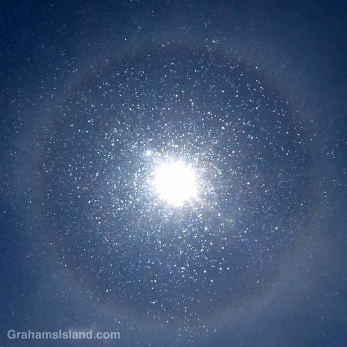 A rainbow halo around the sun