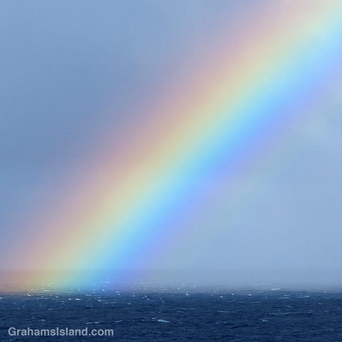 A rainbow off the coast of Hawaii