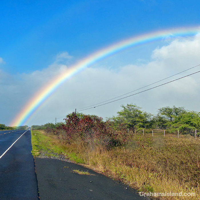 A Rainbow over the road in North Kohala, Hawaii