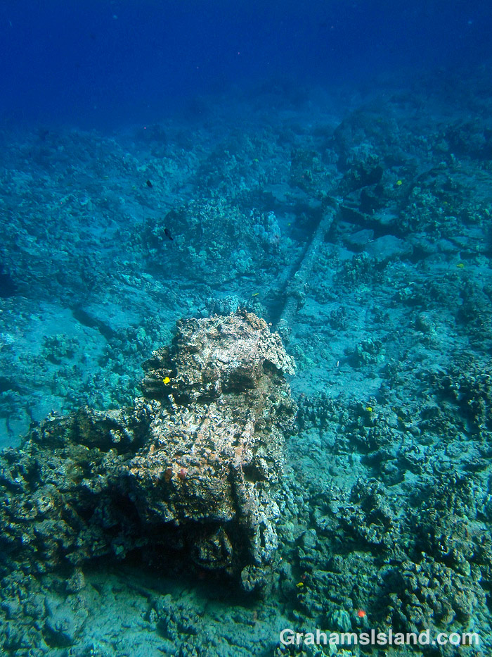 The engine, prop shaft and propellor of the SS Kauai, which sank off Hawaii in 1913