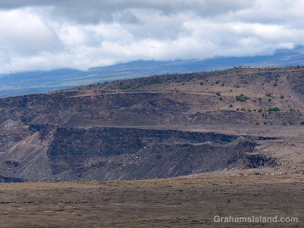 A view of Halemaumau Crater and Jaggar Museum in Hawaii Volcanoes National Park
