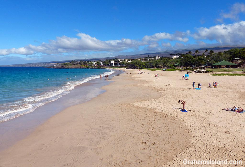 Hapuna beach on a sunny day