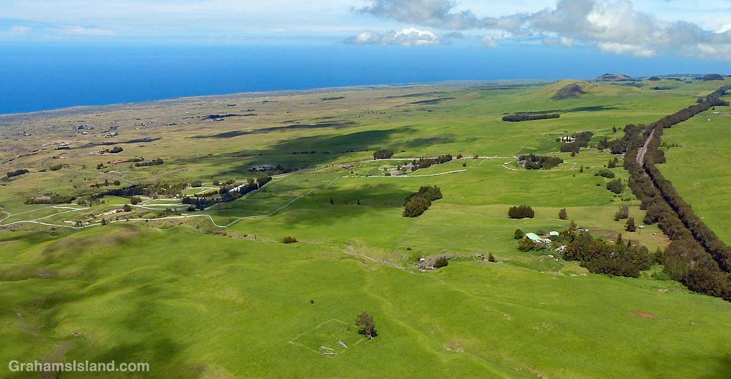 An aerial view of Kohala Mountain Road and Kohala Ranch