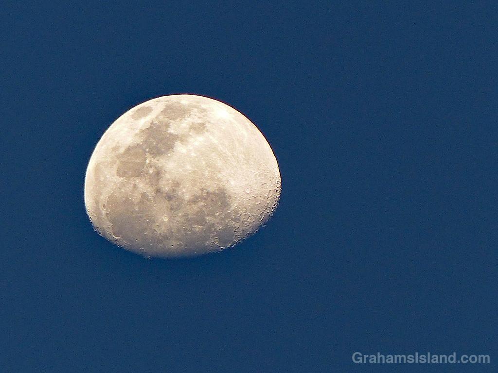 A three-quarter moon