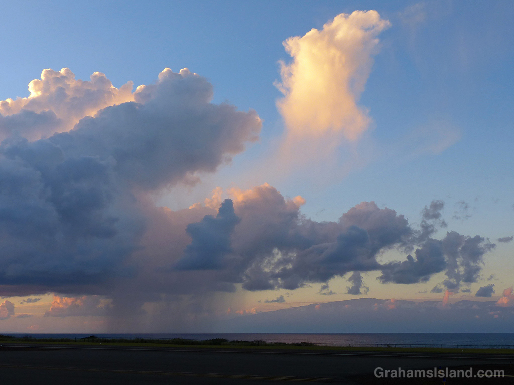 A rain shower in the ʻAlenuihāhā Channel between Maui and the Big Island