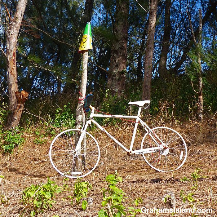 A Ghost bike near Hawi, Hawaii