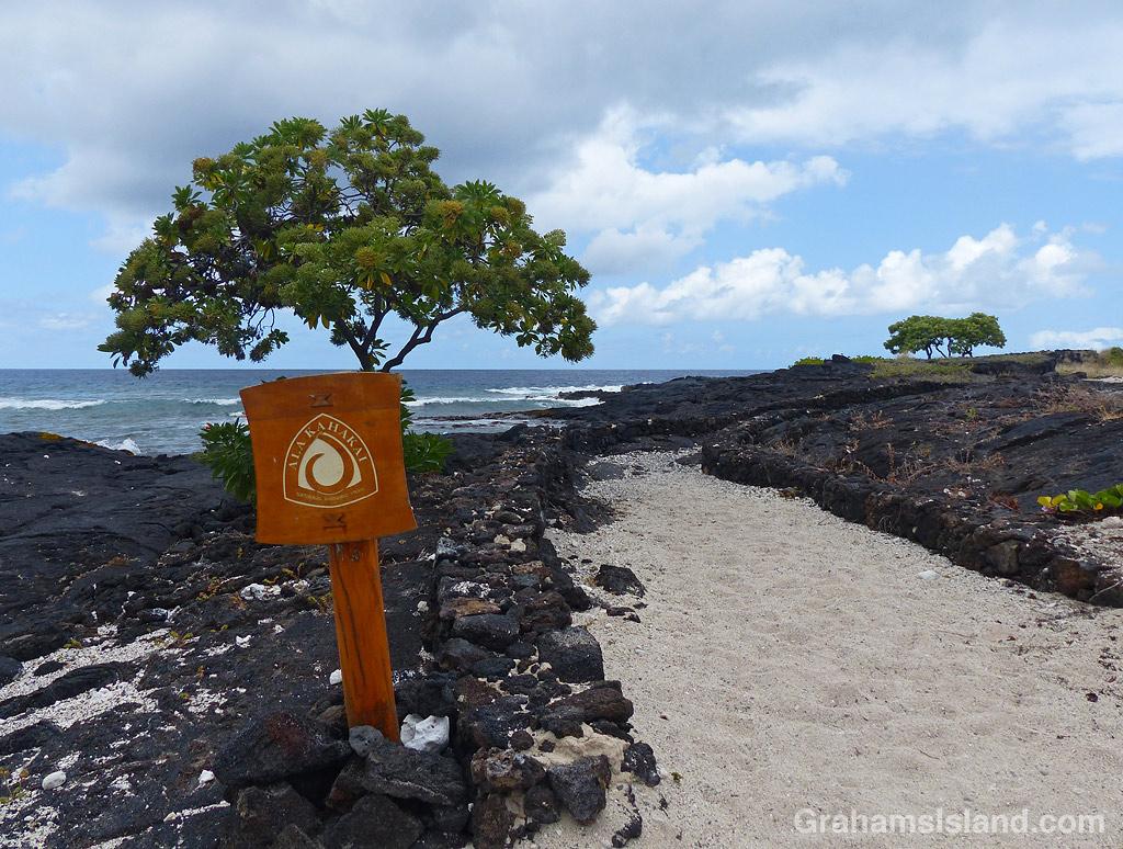 The Ala Kahakai Trail sign at Kohanaiki In Hawaii
