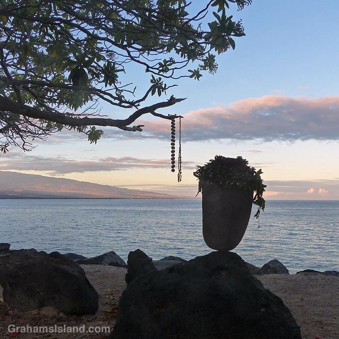 A garlanded rock at Kawaihae, Hawaii