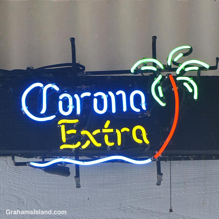 A neon Corona Extra sign