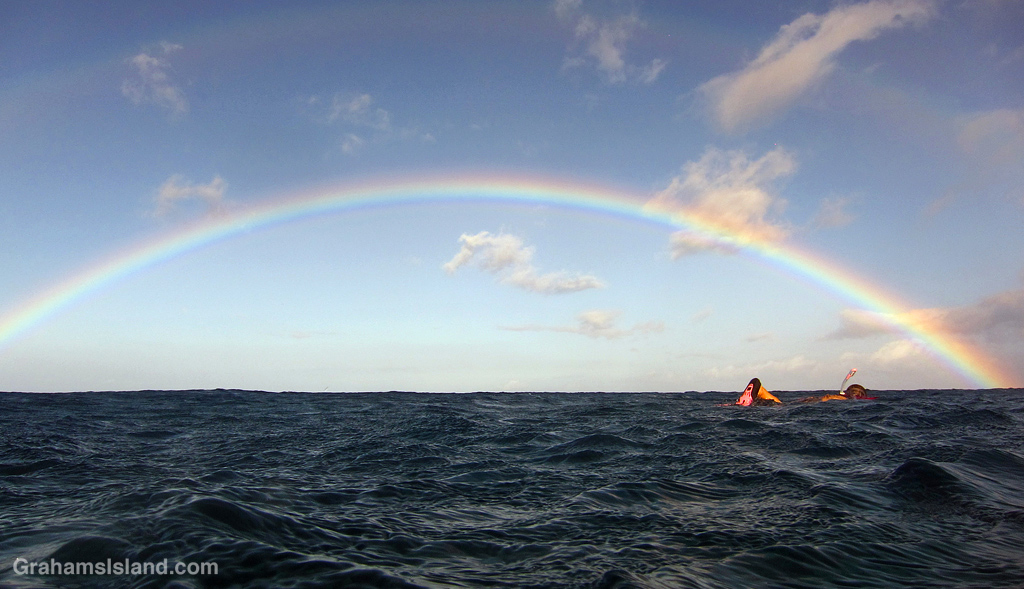A snorkeler swims towards the end of a rainbow in Hawaii.
