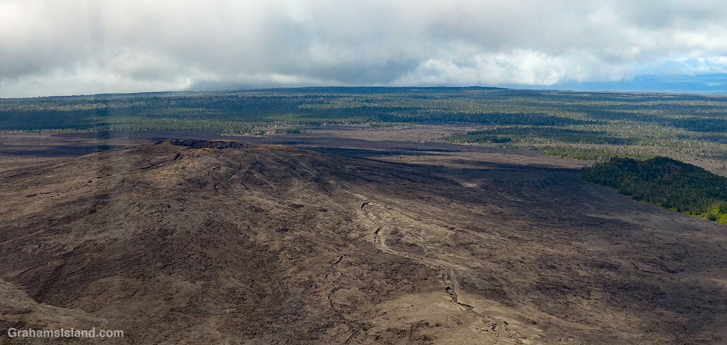 A view of Mauna Ulu crater in Hawaii Volcanoes National Park.