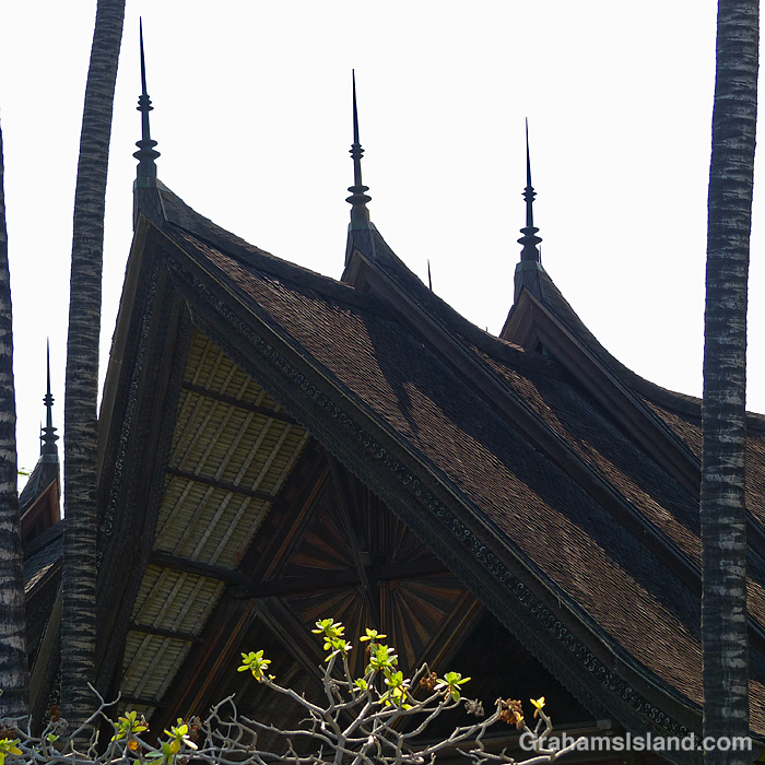 The roofline of the Bali house at Kiholo, Hawaii