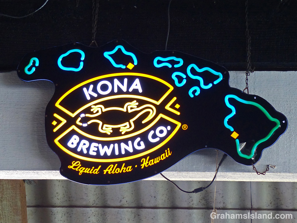 A neon Kona Brewing sign in Hawaii