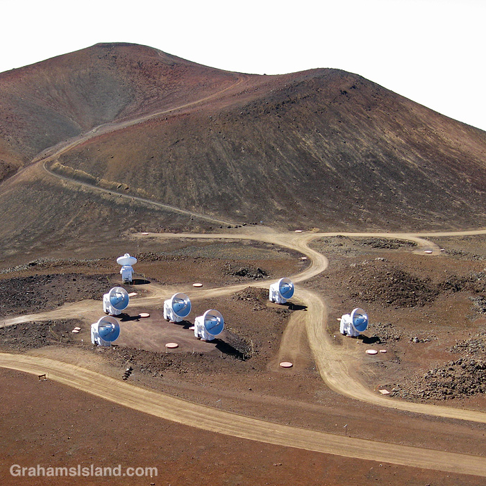 A view of the Smithsonian Submillimeter array from the Subaru Telescope on Mauna Kea, Hawaii