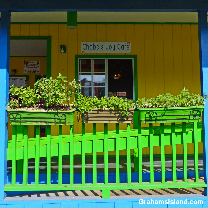The front of Chaba's Joy Cafe in Kapaau, Hawaii